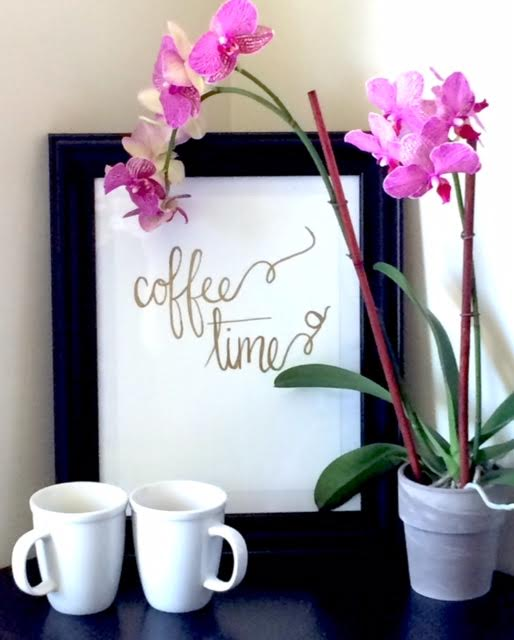coffee time print with gold lettering and orchids