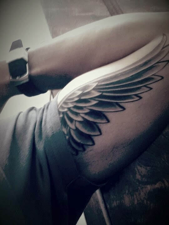 Wing tattoo for coverup on my right shoulder & tricep