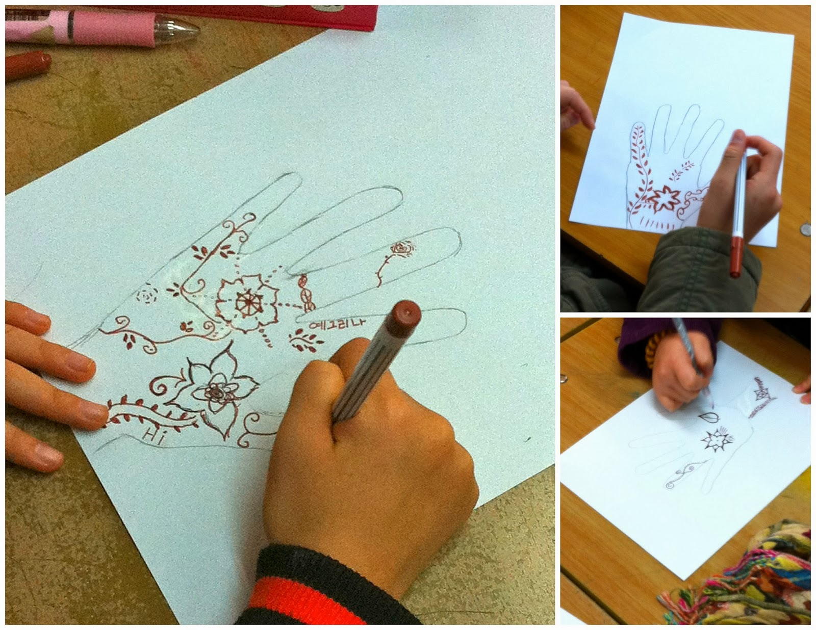 Henna hands paper art project elementary