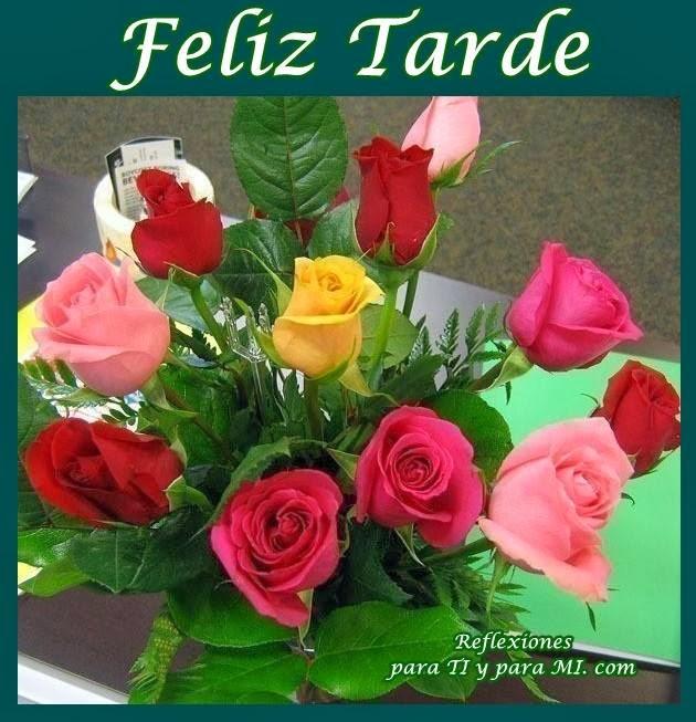 Buenos Deseos para TI y para MÍ: * Feliz Tarde  Ramo de Rosas