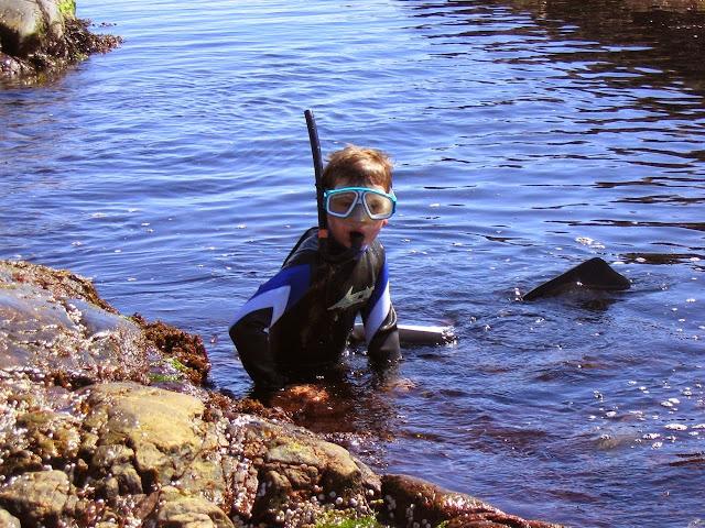 Gutt med snorkel og dykkermaske i fjære på Bragdøya