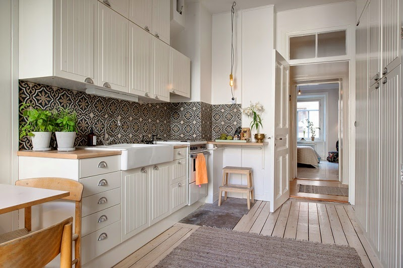 Un apartamento sueco neutro y luminoso neutral and luminous swedish apartment - Baldosa hidraulica cocina ...