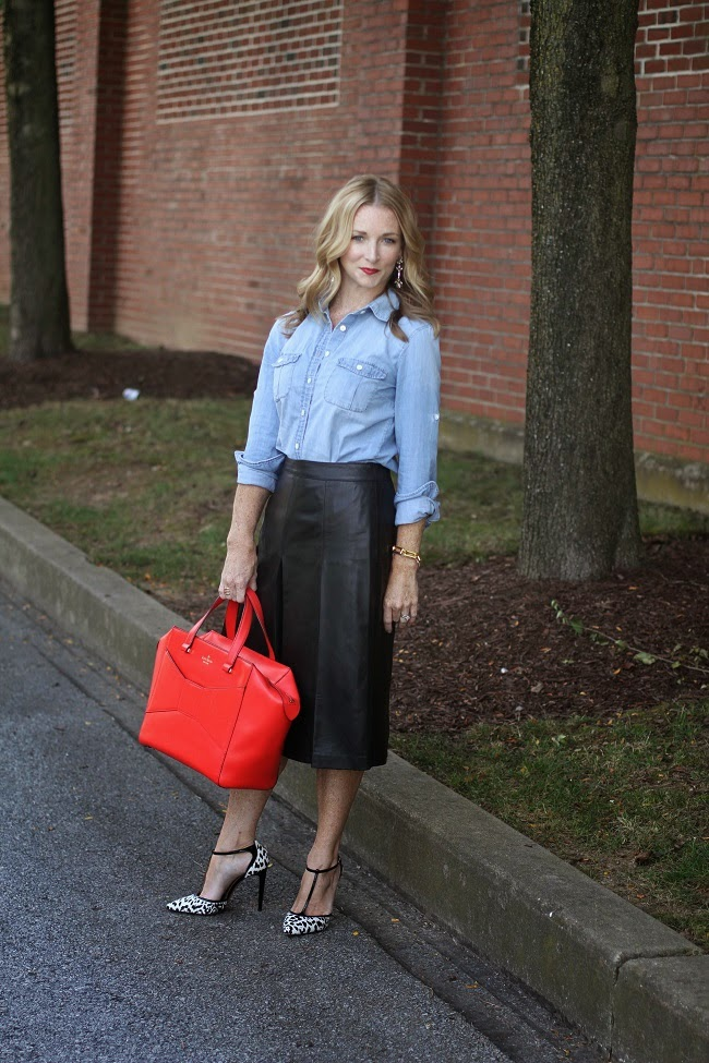 jcrew chambray shirt, halogen leather skirt, kate spade beau bag, aquazurra heels