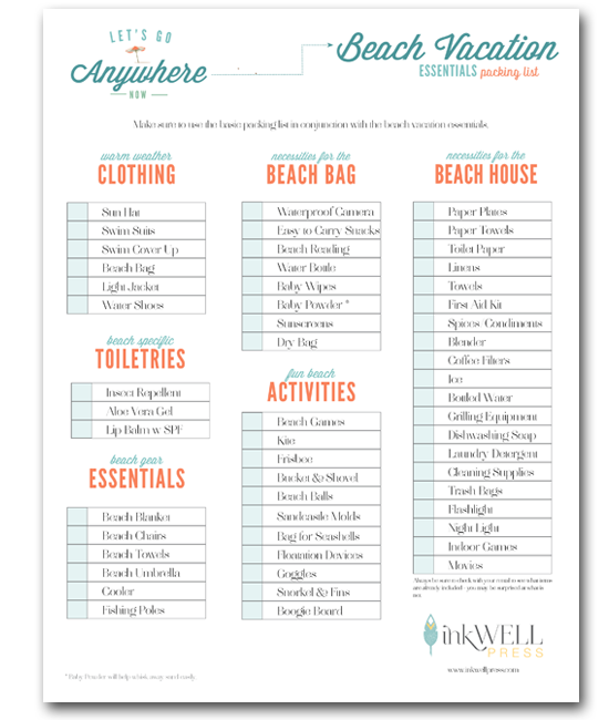 FREE Download For Beach Vacation Packing Checklist Includes Items You Need A House Rental