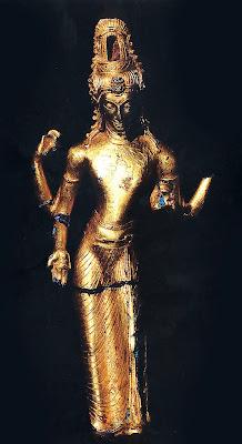 Arca emas Avalokiteçvara bergaya Malayu-Sriwijaya, ditemukan di Rantaukapastuo, Muarabulian, Jambi, Indonesia.