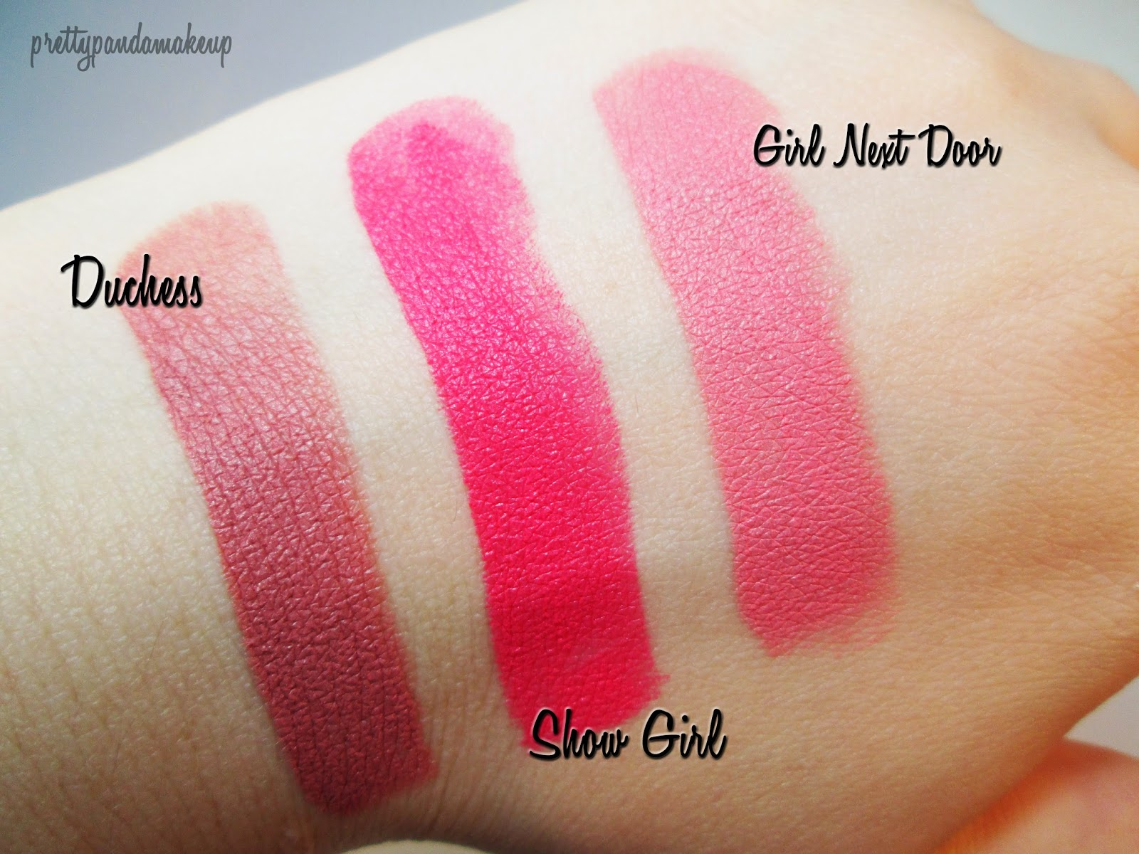 Lorac Alter Ego Lipstick in Duchess, Show Girl, and Girl Next Door swatches