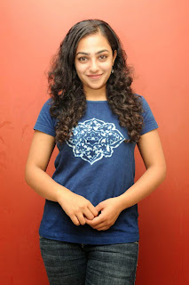 Nithya Menon in Chest Print T Shirt and Denim Jeans Spicy Pics