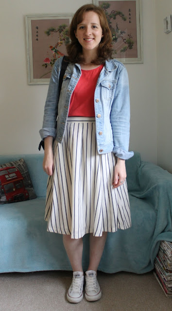 Stripy Japanese Skirt Coral Top Denim Jacket Converse ASOS Primark OOTD