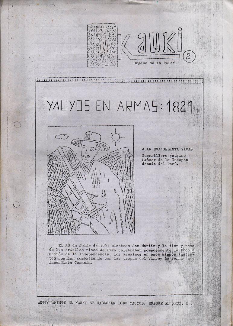 """Publicación: """"YAUYOS EN ARMAS 1821. Yauyos en la Independencia""""."""