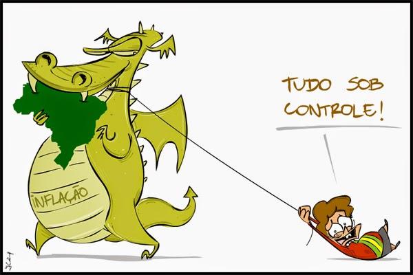 Charge: Dilma no controle da inflação