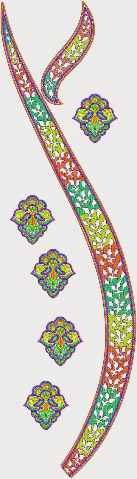 ... neck design in patti design it has numerous colors and patch work