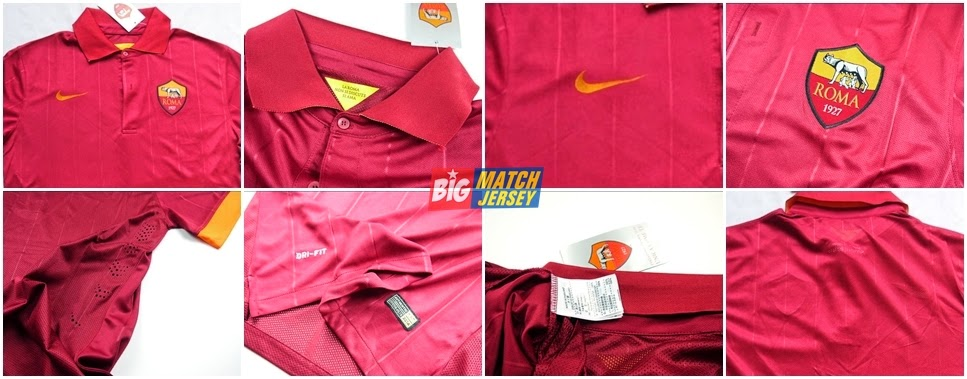 Detail Jersey As Roma Home Terbaru Official 2014 - 2015 Liga Italia