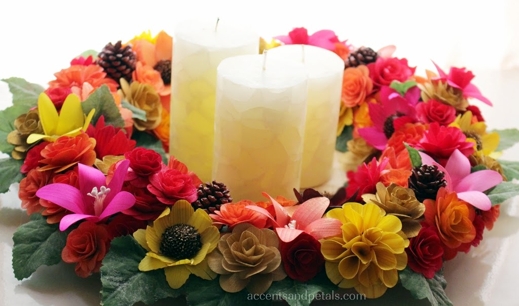 Diy how to make a candle wreath centerpiece using wooden