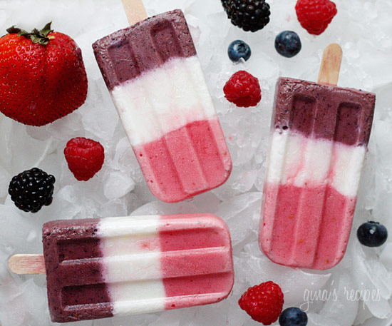 Frozen yogurt popsicles made with fresh berries don't just taste great ...