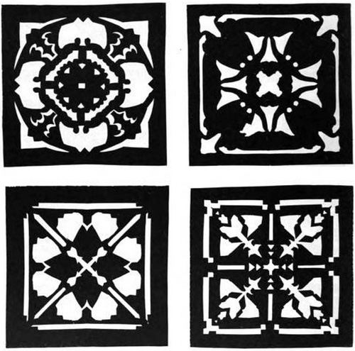 Design by Means of Paper Cutting: four paper cut designs, set 1