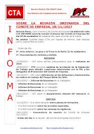 SOBRE LA REUNIÓN ORDINARIA DEL COMITÉ DE EMPRESA, 10/11/2017