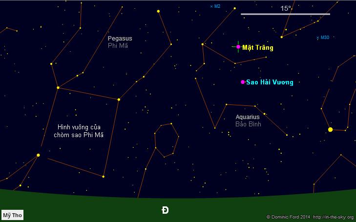 Bầu trời hướng đông vào lúc 7 giờ tối ngày 8/9/2014. Mặt Trăng nằm bên trên Sao Hải Vương và cả hai đang nằm trong chòm sao Bảo Bình.
