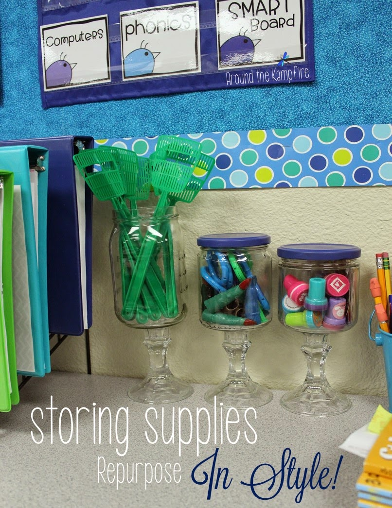 This teacher repurposed old jars into cute storage for guided reading supplies