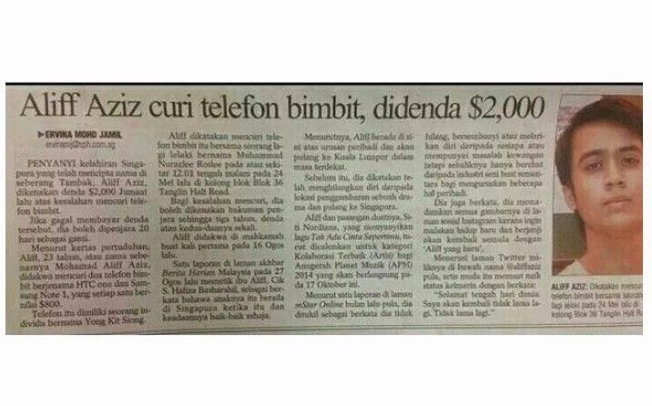 Aliff Aziz Didapati Bersalah Mencuri & Bakal Dipenjara?, info, terkini, gosip, kontroversi, aliff aziz,