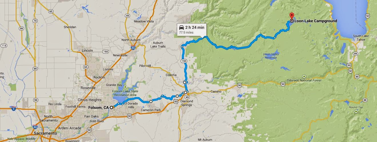 Map of route from Folsom to Loon Lake