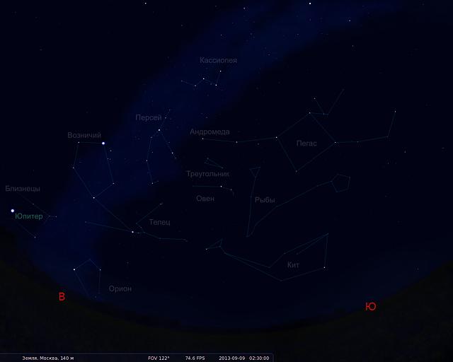 Звездное небо сентября 2013 | статья Андрея Климковского по астрономии о предстоящих астрономических явлениях и видимости созвездий в сентябре месяце 2013 года