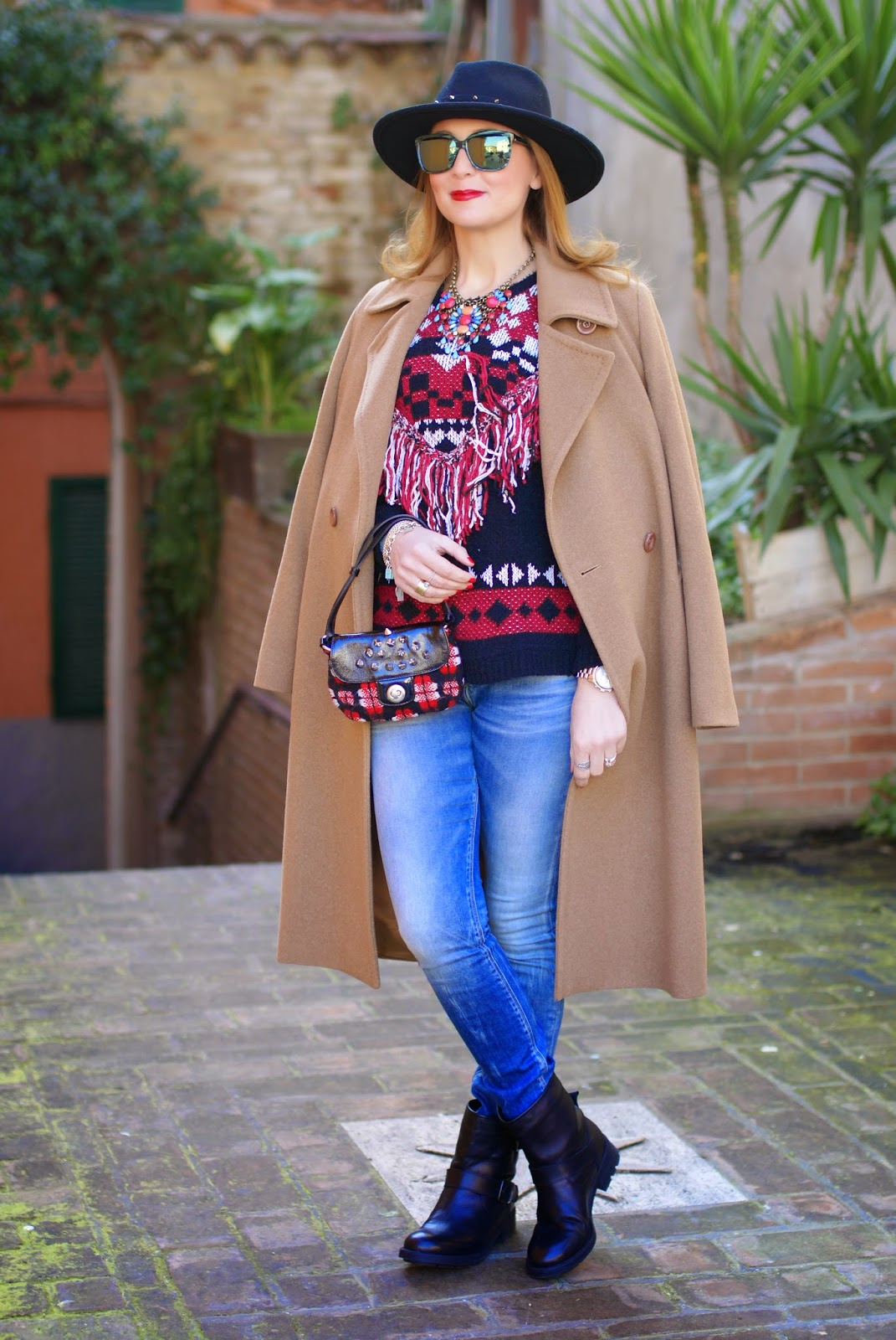 Ethnic fringed sweater from Monki, Max Mara camel coat on Replay skinny jeans, casual ethic look on Fashion and Cookies fashion blog, fashion blogger