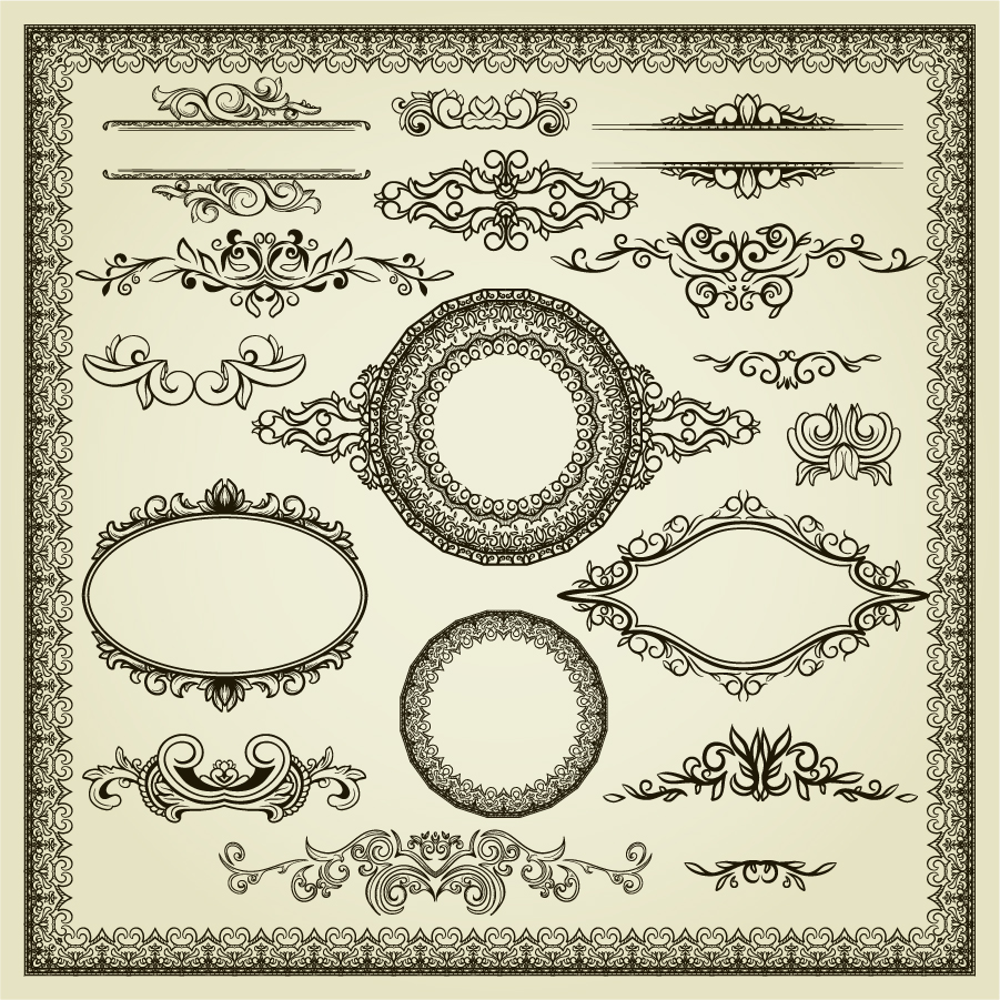 ヨーロッパ調のボーダー・フレーム・飾り罫 Fine shape European pattern イラスト素材