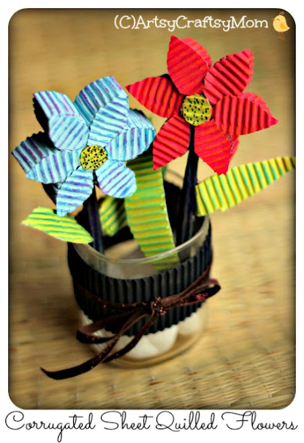 3D Corrugated Sheet Quilled  Flowers 