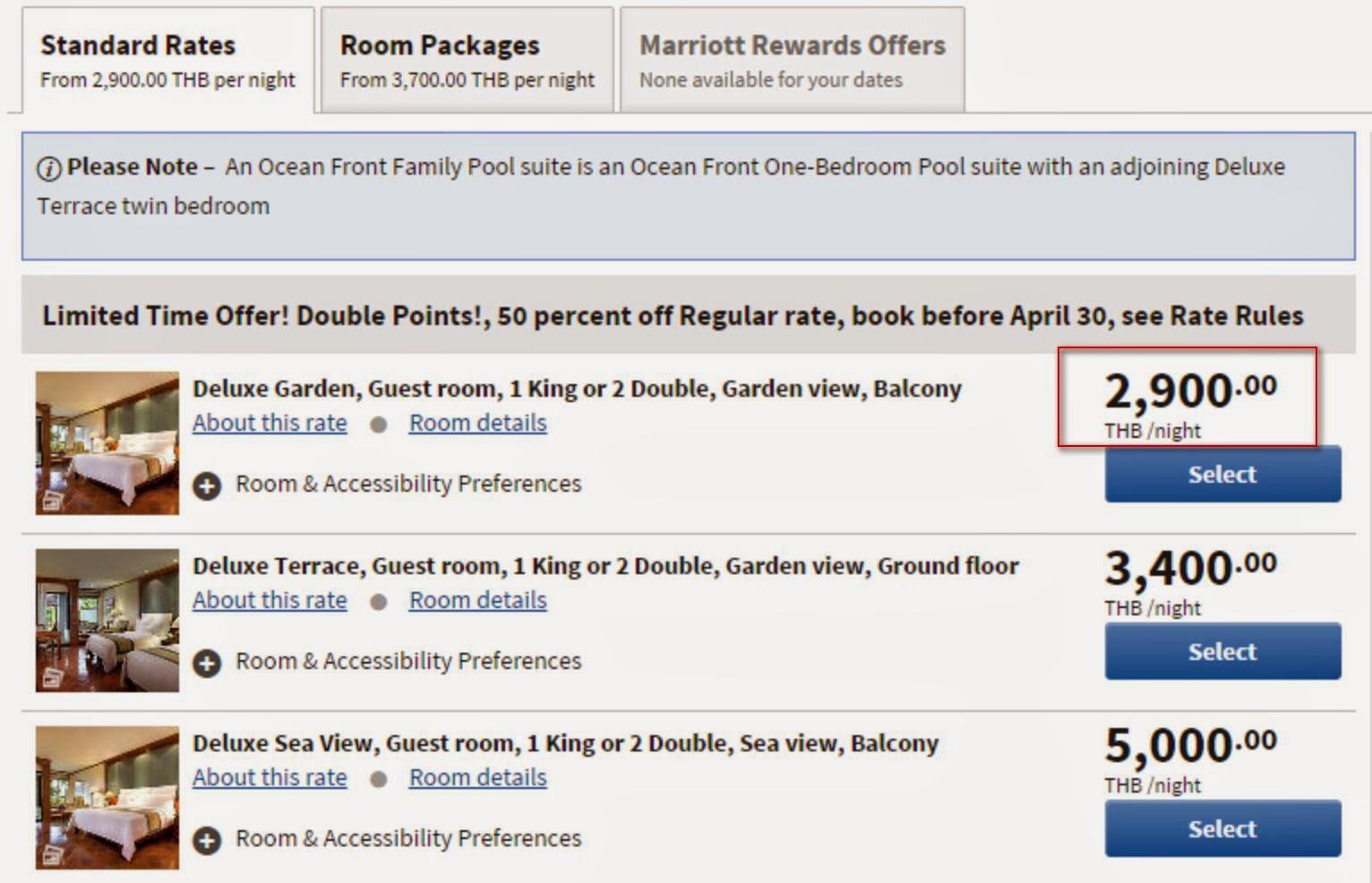 布吉JW Marriott酒店官網會顯示 50 percent off