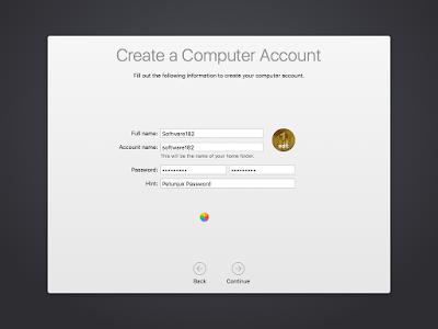 Pembuatan Akun Komputer OS X El Capitan