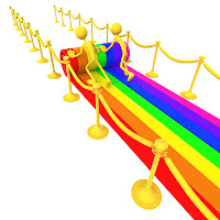 a rainbow red carpet
