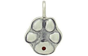 Sterling Silver Pet Paw Relief with Garnet