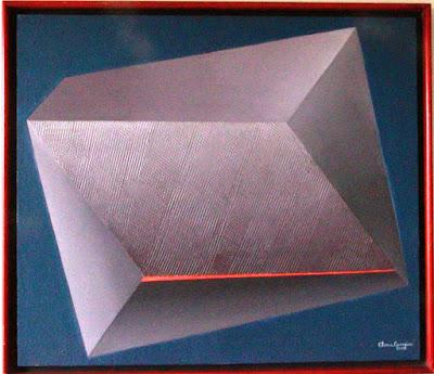 A caixa- técnica mista s/tela -geometria abstrata-artista Elma Carneiro