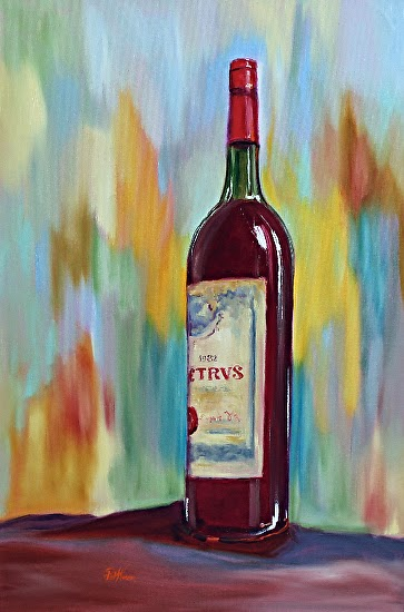 Contemporary artists of georgia still life wine bottle for Painting of a wine bottle
