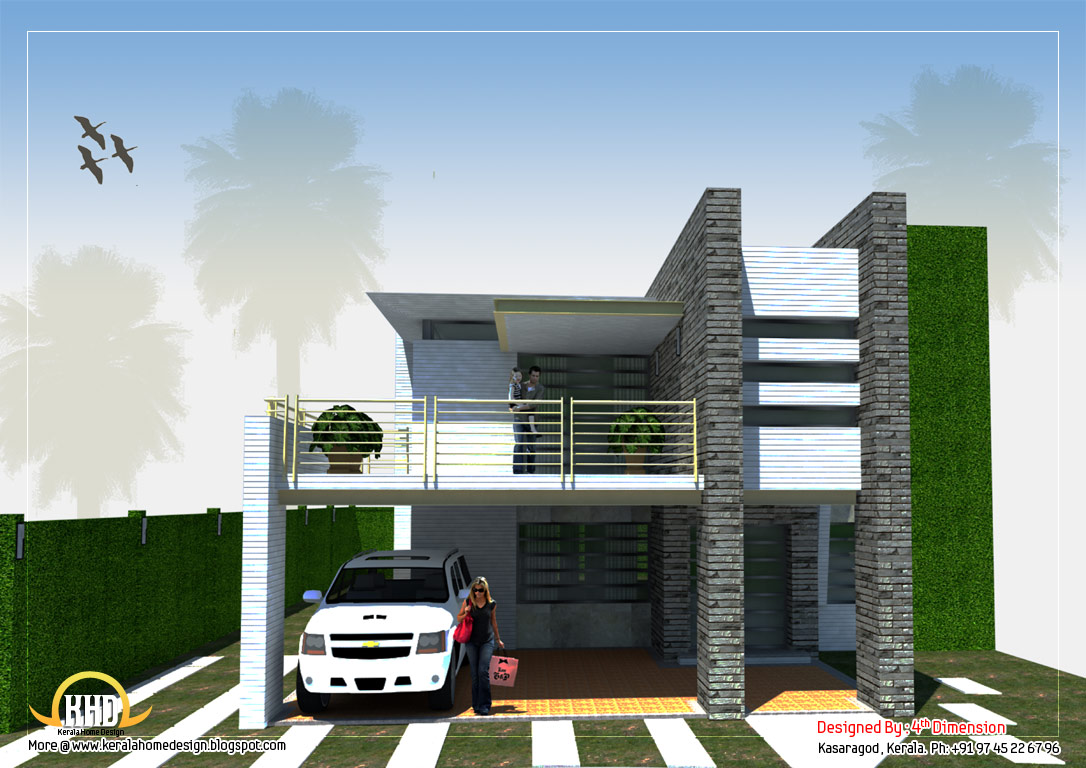 Modern home design 3120 sq ft kerala home design and for Modern square house plans