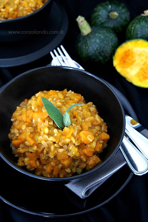 Risotto alla zucca farrotto cremoso farro con zucca ricetta facile - easy, creamy tasty pumpkin risotto recipe