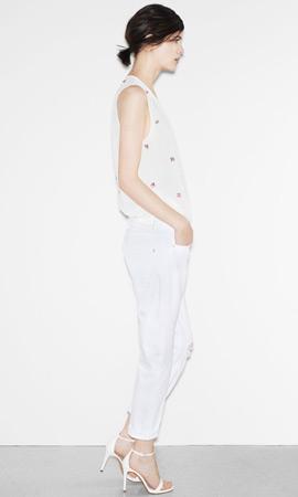 Zara trf verano 2013 pantalón mujer top sandalias color blanco