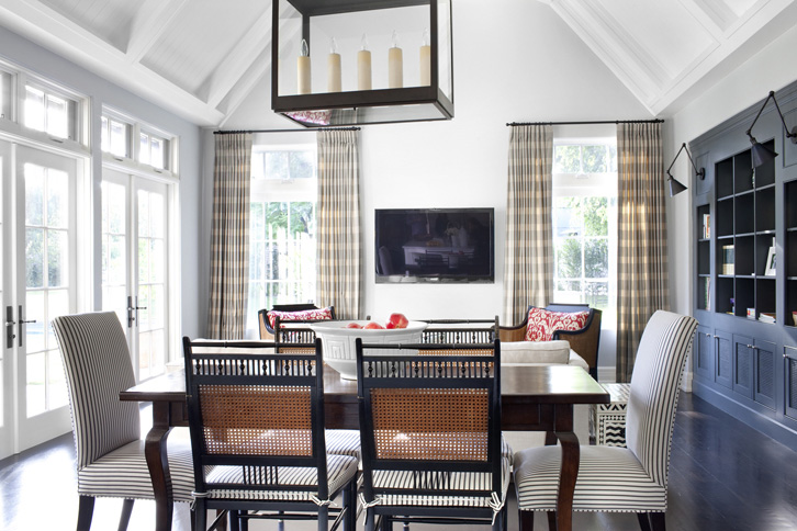 Dining Room In A Tudor Style Home In Beverly Hills With Cane Back Chairs,  Parsonu0027s