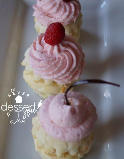 Raspberry Peach Ice Cream Cupcakes