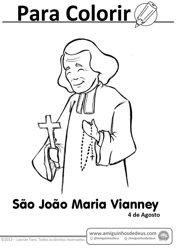São João Maria Vianney desenho para colorir