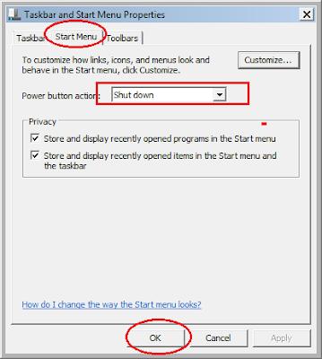 Cara Mengubah Tombol Shutdown Sesuai Dengan Pilihan di Windows 7