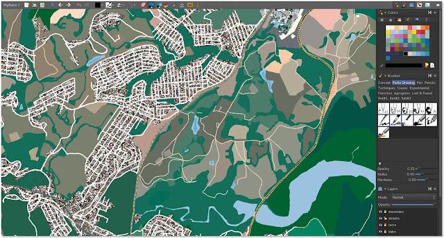 Detalhe do trabalho de um setor do mapa no Mypaint.