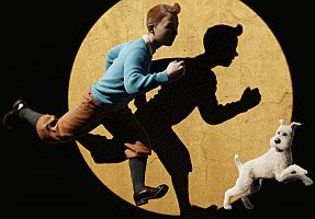 the iconic image of Tintin and Snowy from the film version of #39;Tintin#39;