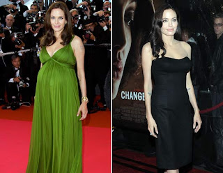 Before and After pregnancy Angelina  Jolie