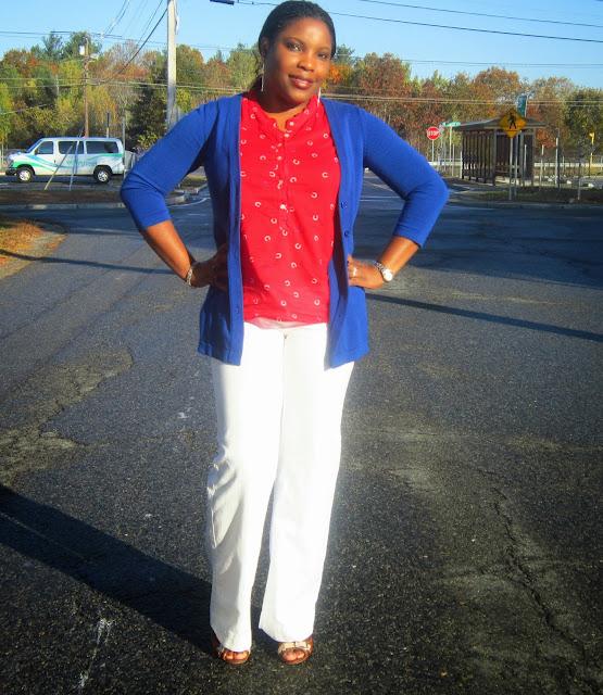 white pants, cobalt sweater