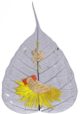Religious Pipal leaf art