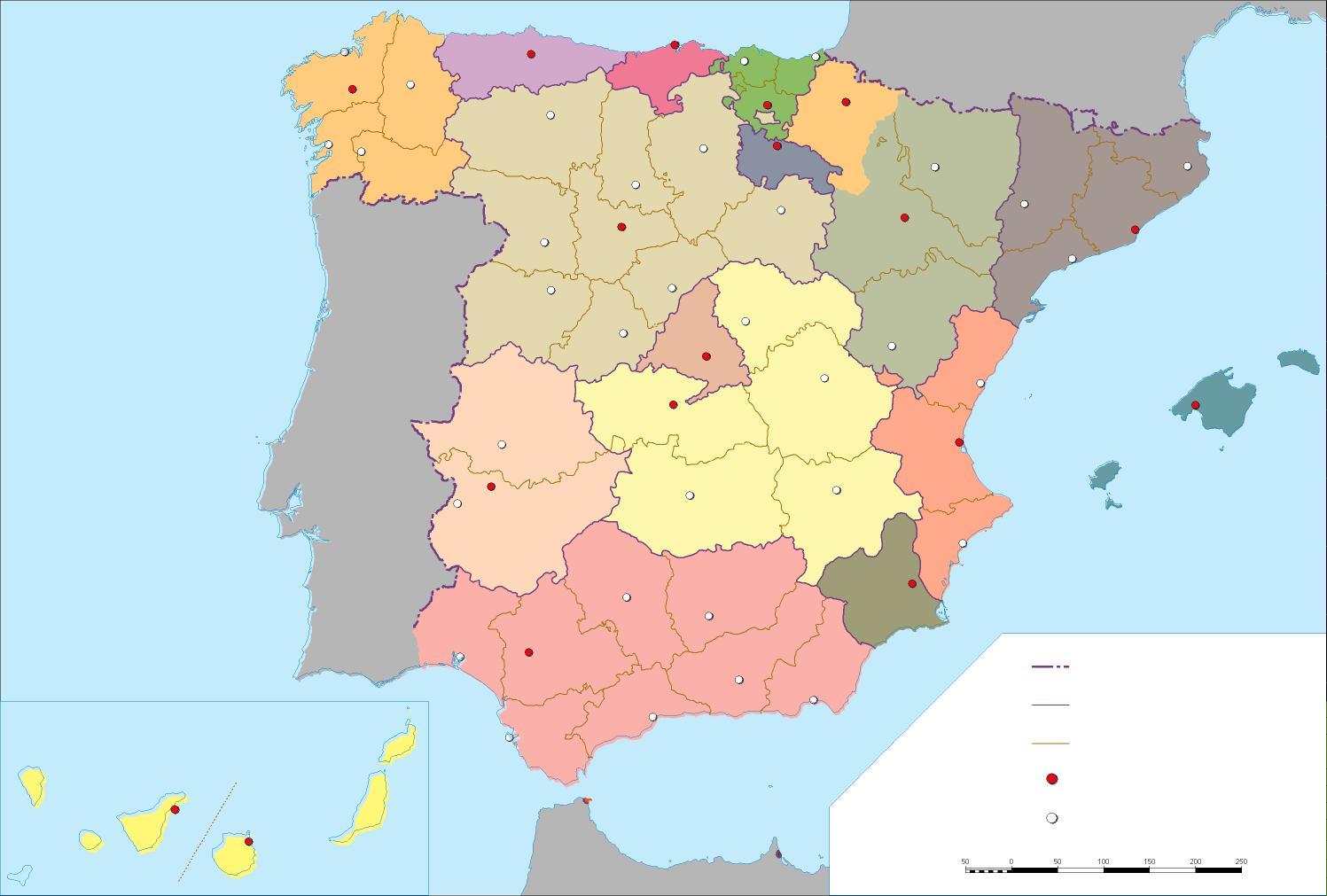 Mapa Politico Espaa Blanco
