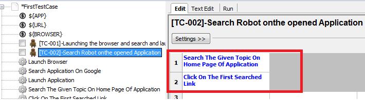 Link between test case and keywords