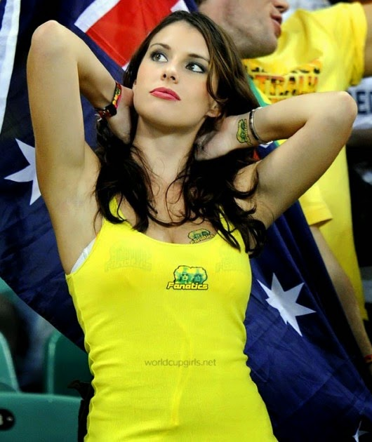 Beautiful Australian girl watching the World Cup 2014
