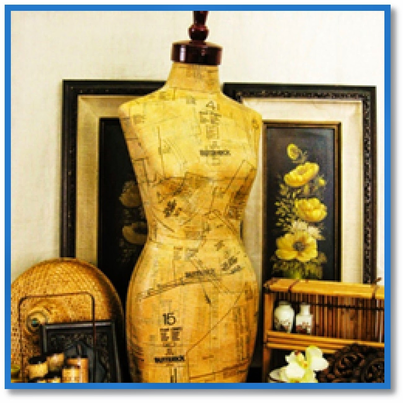 dress form with sewing patterns